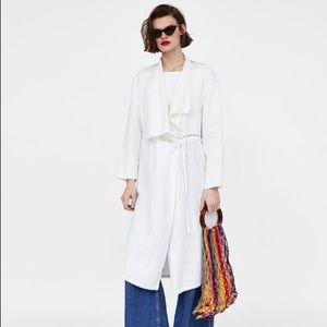Zara Linen Crochet White Coat
